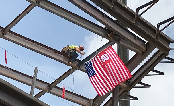 Carmichael Gymnasium Celebrates Construction Milestone With Topping Out Ceremony