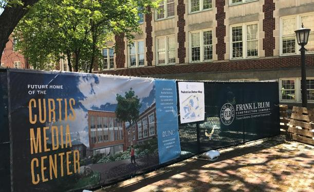 Construction continues at Curtis Media Center on campus of UNC Chapel Hill